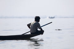 Fisherman Resting at Inle Lake Stock Photos