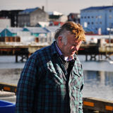 Fisherman in Reykjavik harbor, Iceland Royalty Free Stock Photo
