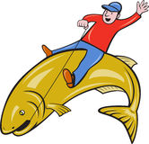 Fisherman Riding Jumping Trout Fish Stock Images