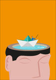 A Fisherman Riding a Paperboat Floats on a Head Made of a Lake. Editable Concept. Royalty Free Stock Photography