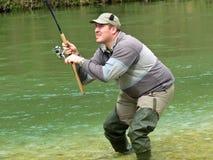 Fisherman on river Royalty Free Stock Photo