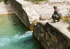 Fisherman on river Royalty Free Stock Images