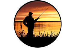 Fisherman on a river coast. With a fishing tackle royalty free illustration
