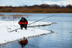 Fisherman on the river Stock Photography