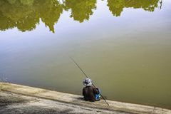 Fisherman on the river. royalty free stock images