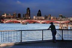 Fisherman at River Thames Royalty Free Stock Image