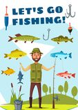 Fisherman with rod and fish poster, fishing design. Fisherman with rod and fish catch for Lets Go Fishing poster template. Fisher standing on river bank with Stock Image