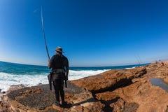 Fisherman Rod Rocks Sea Close Royalty Free Stock Photo