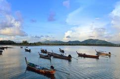 Fisherman rowing at Krabi Stock Photography