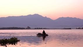 A fisherman rowing stock video footage