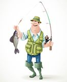 Fisherman in rubber boots with a caught fish and a fishing rod Stock Photography
