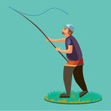Fisherman in rubber boots throws a fishing rod with a line and crocheted into the water for fly-fishing, character man. Catches fish standing off shore with royalty free illustration