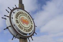 Fisherman& x27; s码头标志旧金山,加利福尼亚 免版税库存图片