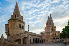 Fisherman`s Bastion on the Buda bank of the Danube in Budapest city, Hungary.  stock images