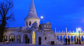 Fisherman`s bastion. On Buda castle hill in Budapest in the evening Royalty Free Stock Photo