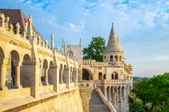 Fisherman`s Bastion in Budapest city, Hungary stock images