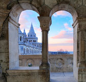 Fisherman's Bastion in Budapest, Hungary, architectural detail Stock Photos