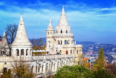 Fisherman's Bastion, Budapest, Hungary. Fisherman's Bastion (Halaszbastya) is the historical panoramic viewing terrace with fairy tale towers in Budapest royalty free stock photo