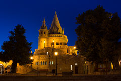 The Fisherman's Bastion Budapest Hungary Illuminated at Night Stock Images