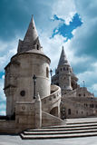Fisherman's Bastion in Budapest, Hungary. Budapest, Hungary - June 23, 2014: close view of one part of the Fisherman's Bastion, a famous monument located that stock images