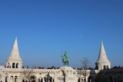 The Fisherman`s Bastion. At Buda Castle, Hungary stock photos