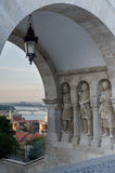 Fisherman's Bastion (Halaszbastya) fortification under pink sunset sky with Knight sculptures in Budapest, Hungary. Stock Image