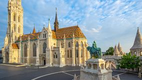 Fisherman`s Bastion and the Matthias Church in Budapest, Hungary royalty free stock image