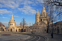 Fisherman's Bastion and Matthias Church in Budapest, Hungary. Fisherman's Bastion in Budapest, Hungary.  Fisherman's Bastion is a terrace in neogothic style. It Royalty Free Stock Photo