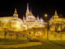 Fisherman's bastion and Matthias Church night view, Budapest, Hungary Royalty Free Stock Photos