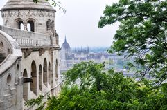 Fisherman`s Bastion in Budapest Hungary. Fisherman`s Bastion is a neo-Gothic and neo-Romanesque style structure situated on the Castle hill in Budapest. Shot on royalty free stock photography