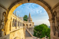 Fisherman`s Bastion with sunrise in Budapest, Hungary.  royalty free stock images