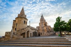 Fisherman`s Bastion with sunrise in Budapest, Hungary royalty free stock images
