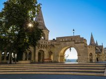 Fisherman's bastion at sunrise. Budapest, Hungary. On the wall of Fisherman's Bastion. Budapest city. Hungary Stock Photos
