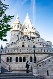 Fisherman`s bastion towers in Buda, Budapest, Hungary. Fisherman`s bastion towers on a sunny day in Buda, Budapest, Hungary stock image