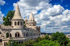 The Fisherman's Bastion, Buda, Budapest, Hungary. The Fisherman`s Bastion is a well-known building in Budapest. It is located on the river side of the Castle Royalty Free Stock Images
