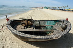 Fisherman's boat. A fisherman's boat on the shore of Da Nang Royalty Free Stock Images
