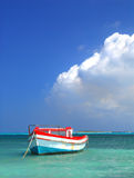 Fisherman's boat in Aruba. Fisherman's boat in a tranquil bay outside of Oranjestad Aruba of the Netherlands Royalty Free Stock Images