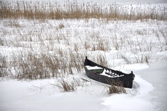 A fisherman's boat in winter Royalty Free Stock Photos