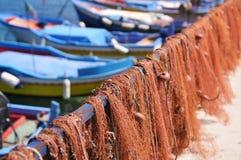 Fisherman's boats docked to pier Royalty Free Stock Photos