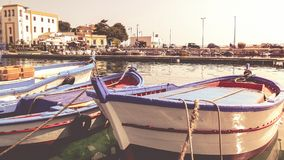 Fisherman`s boats in Mondello, Sicily stock photos