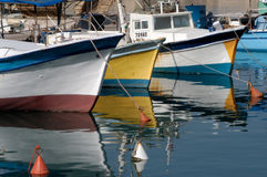 Fisherman's boats mooring in old Jaffa port Royalty Free Stock Photography