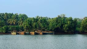 Free Fisherman`s Boats On Mandovi River Stock Photo - 104994830