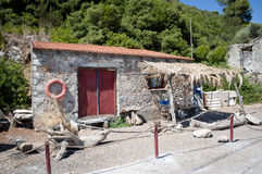Fisherman's cottage. In Greek (Evia royalty free stock images