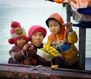 Fisherman's Family, Halong Bay, Vietnam royalty free stock images