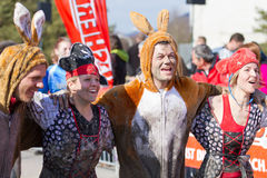 Fisherman's Friend Strongman run 2012. THUN-MARCH. 11 2012: Unidentified runners many in costumes participate in the Fisherman's Friend Strongman run in Thun SUI Stock Photo