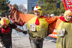 Fisherman's Friend Strongman run 2012. THUN-MARCH. 11 2012: Unidentified runners many in costumes participate in the Fisherman's Friend Strongman run in Thun SUI Stock Photography