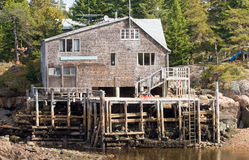 Fisherman's home and dock stock photos
