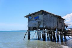Fisherman's house on the edge of the blue sea. Philippines. Stock Images