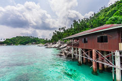 Fisherman's house in the South China Sea Royalty Free Stock Image