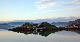 Fisherman´s houses. On Mageroya in Norway royalty free stock image
